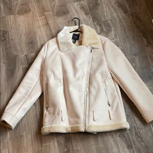 Cream fur and suede coat